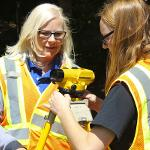Students work with a theodolite used for surveying dig sites to get accurate measurements for archeological drawings.