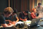 KSU composition students having their works recorded in a professional studio.