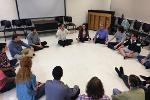 KSU students and faculty learning about and performing Balinese kecak (vocal gamelan) with guest artist and scholar, Dr. Michael Bakan.
