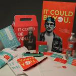 "PACKAGE DESIGN PROJECT: ""It Could be You"" Opioid Addiction Awareness; DESIGNERS: Kira Kowolik, Preston Luck and Eryn Speer. Winner of 2018 Graphic Design USA American Package Design Award."