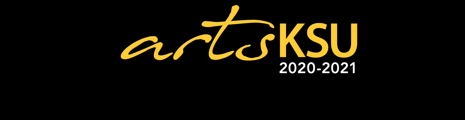 ArtsKSU 2020-2021 in black and white font over a gold background.
