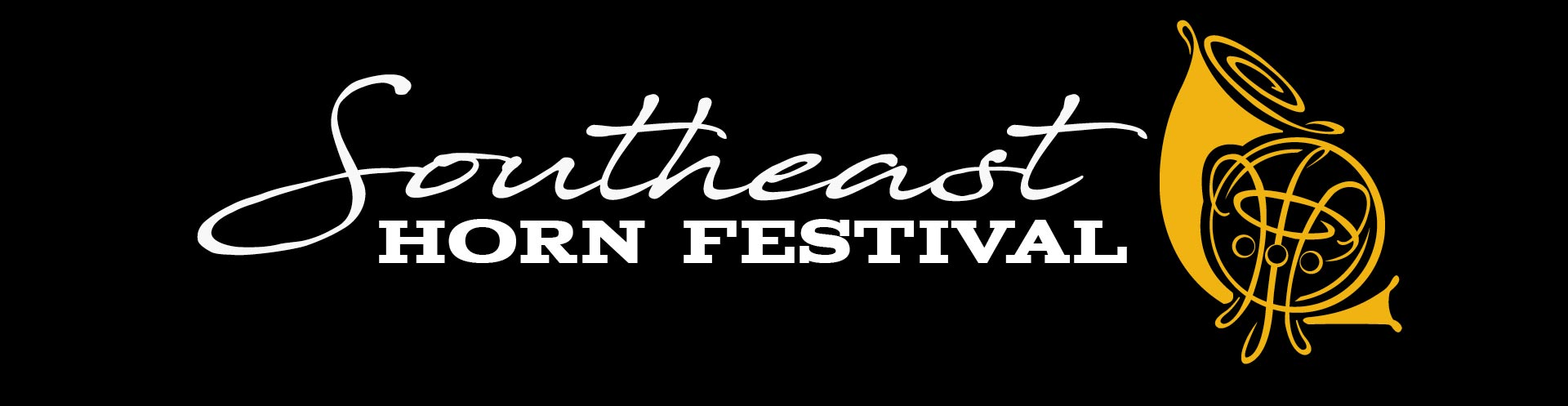Southeast Horn Festival banner with a black background and gold text.