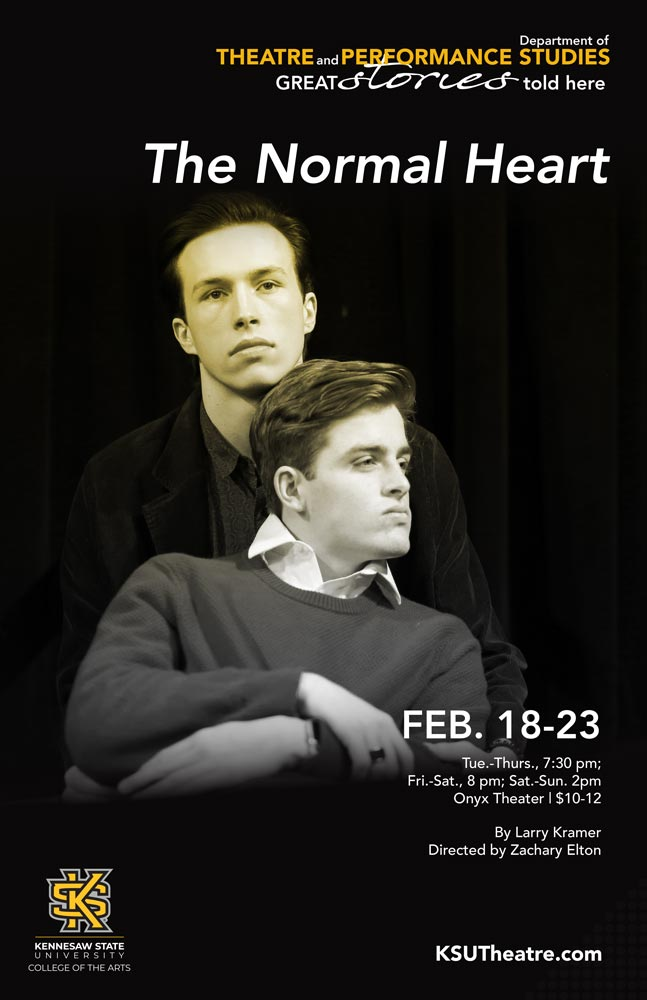 The Normal Heart production poster, with two actors on the cover.