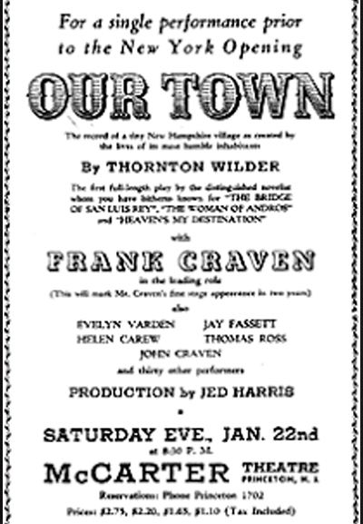 1938 Thornton Wilder Ourtown Playbill