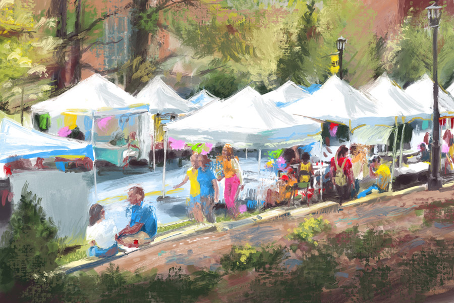 Illustration of the Artist Market of the Spring Arts Festival at KSU