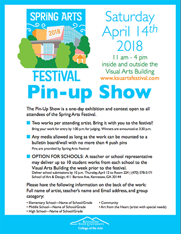 Pin-up Show flyer icon for the 2018 Spring Arts Festival