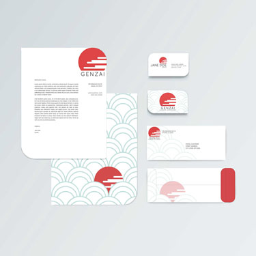 Genzai stationery branding by Kate Thiel