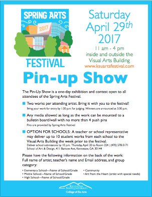 Pin-up Show flyer icon for the 2017 Spring Arts Festival