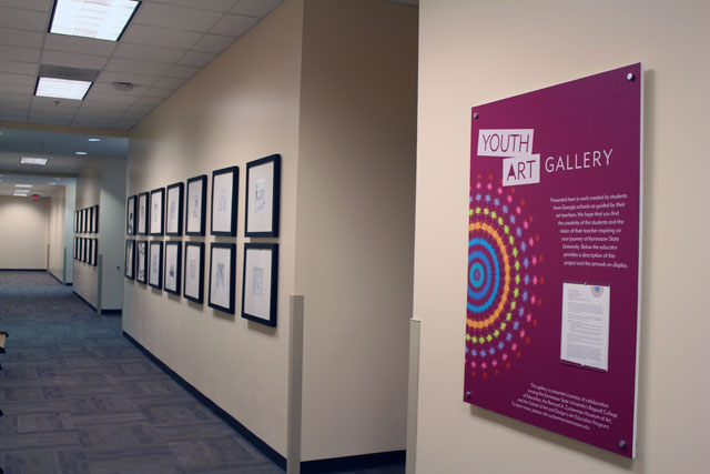 "Community school artworks at Kennesaw Hall through the ZMA/Bagwell/SOAAD collaborative ""Youth Art Gallery"" project."