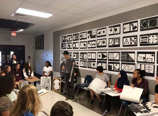 Chattahoochee High School Art Room Drawing and Painting 1 Class Critique with new KSU alumna teacher, Madeline Carpenter Rizzo