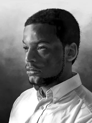 Lisa Cooper, digital portrait, man in a white shirt