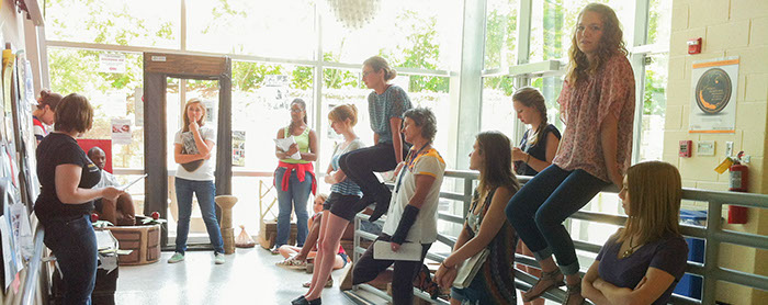 Students hang out in the Visual Arts building atrium
