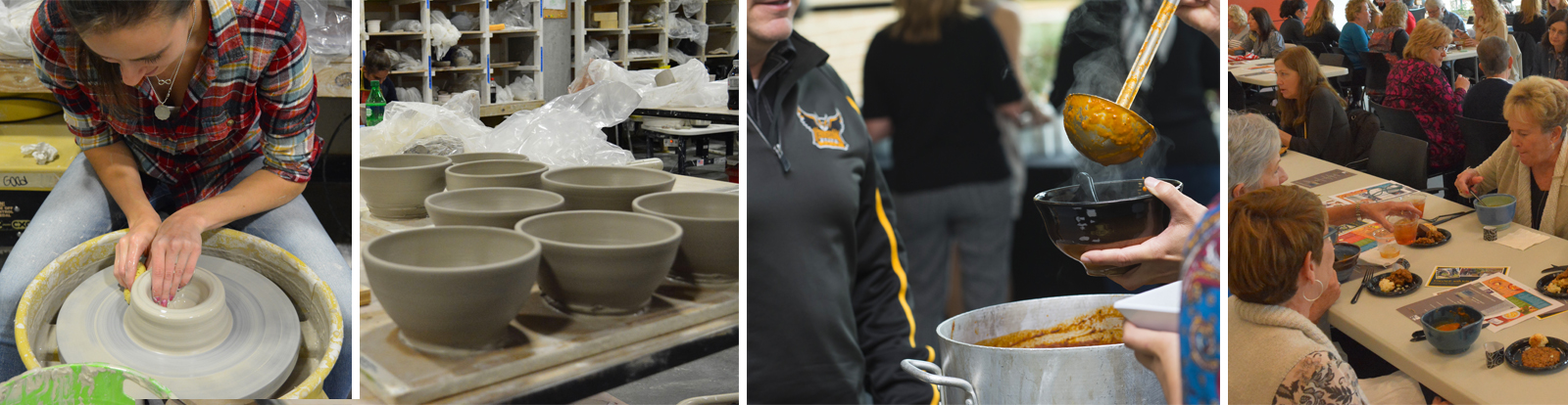 ceramics student makes bowls
