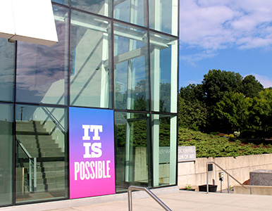 "Installation view of Susan O'Malley's ""It Is Possible"" on the exterior of the ZMA."