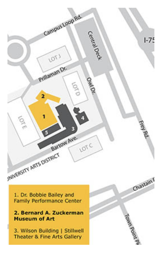 Zuckerman Museum of Art - Location + Parking Map