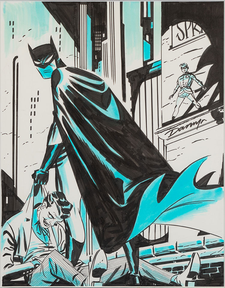 Darwyn Cooke, Batman/Joker/Robin, c. 2013, pen, ink, and watercolor on paper.
