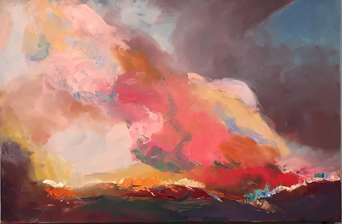 "Vibrant, colorful abstract painting titled ""Firestorm"" created by Frances Ziemian."